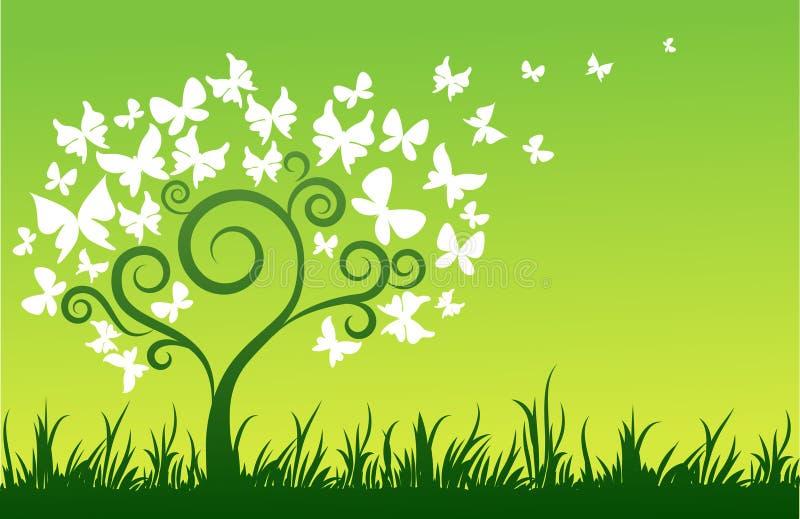 Δέντρο με τις άσπρες πεταλούδες ελεύθερη απεικόνιση δικαιώματος
