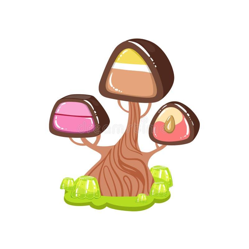 Δέντρο με τον κορμό σοκολάτας και το γλυκό στοιχείο τοπίων εδάφους καραμελών φαντασίας κορωνών καραμελών σοκολάτας διανυσματική απεικόνιση