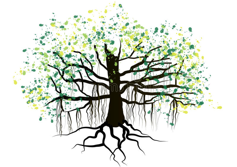 Δέντρο με το υπόγειο σχέδιο watercolor ριζών, διάνυσμα διανυσματική απεικόνιση