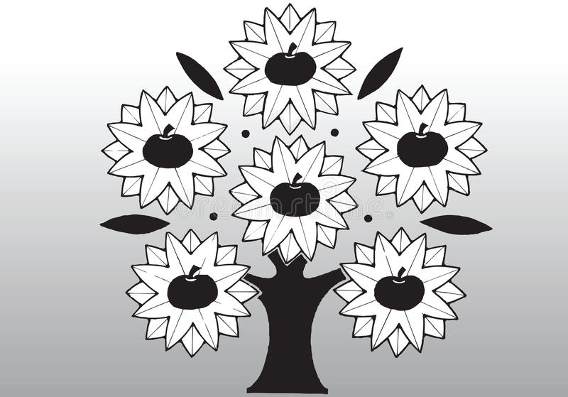 Δέντρο μηλιάς κινούμενων σχεδίων απεικόνιση αποθεμάτων