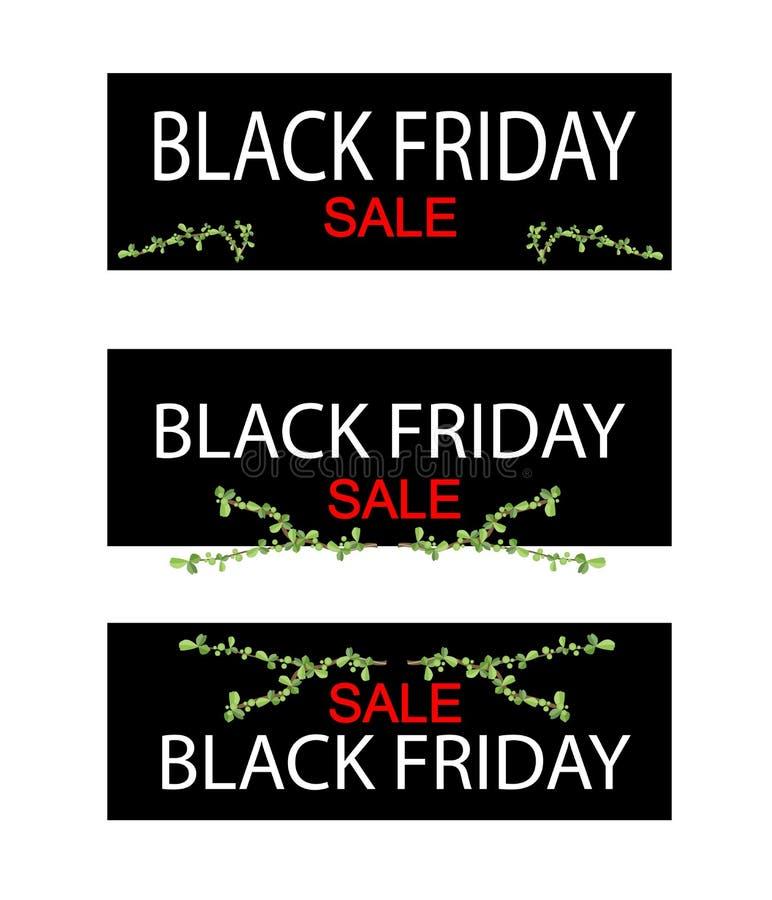 Δέντρο μπονσάι στο μαύρο έμβλημα πώλησης Παρασκευής διανυσματική απεικόνιση