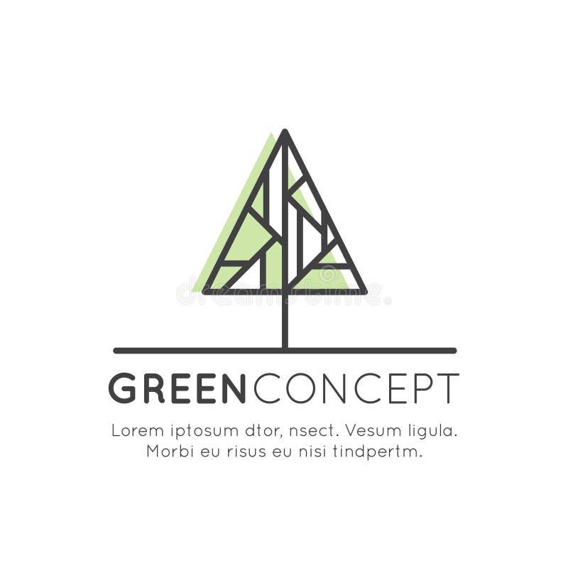 Δέντρο λογότυπων και δασική έννοια - οικολογία και πράσινη ενέργεια στο καθιερώνον τη μόδα γραμμικό ύφος με το στοιχείο φυτού φύλ διανυσματική απεικόνιση