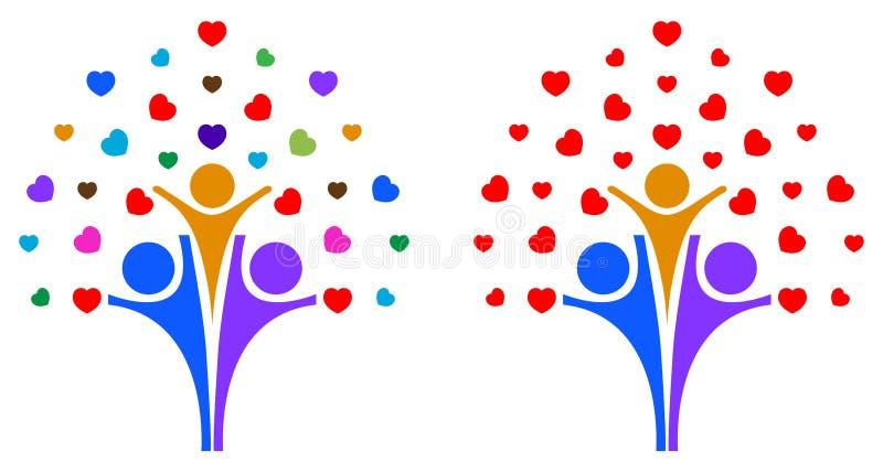 Δέντρο οικογενειακής αγάπης ελεύθερη απεικόνιση δικαιώματος