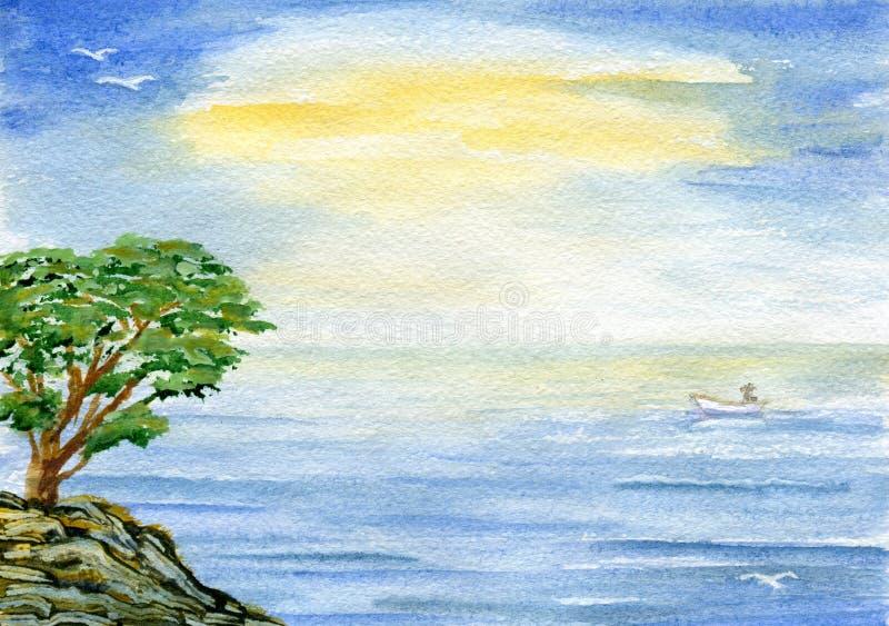Δέντρο πέρα από τη θάλασσα διανυσματική απεικόνιση
