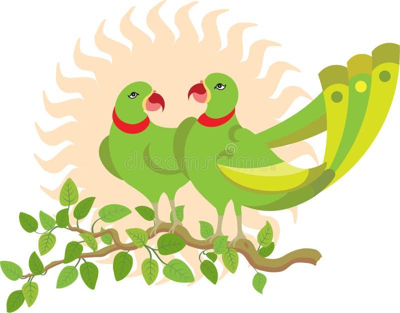 δέντρο παπαγάλων ζευγών διανυσματική απεικόνιση