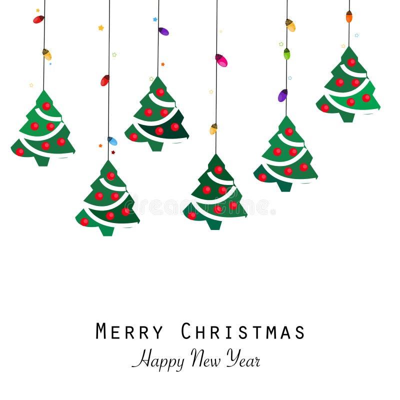 Δέντρο πεύκων και skyColorful λάμπα φωτός Χριστουγέννων και δέντρο πεύκων Ευχετήρια κάρτα καλής χρονιάς διανυσματική απεικόνιση