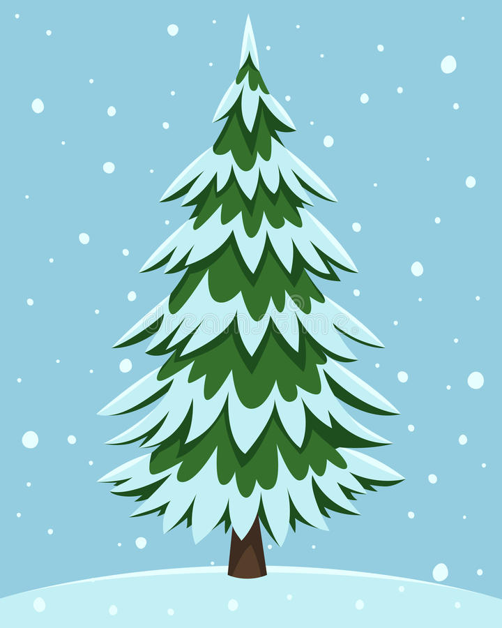 Δέντρο πεύκων κινούμενων σχεδίων ελεύθερη απεικόνιση δικαιώματος