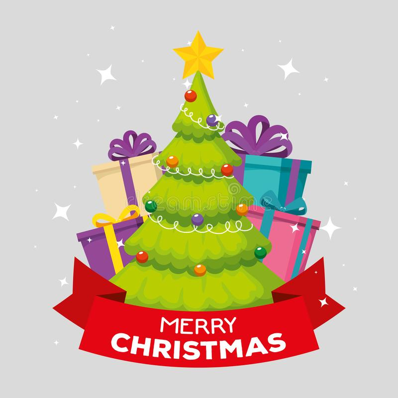Δέντρο πεύκων με το αστέρι και σφαίρες στη Χαρούμενα Χριστούγεννα απεικόνιση αποθεμάτων