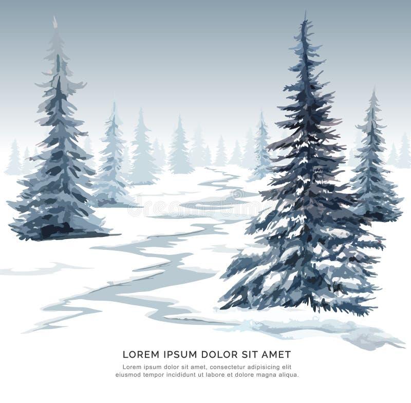 Δέντρο πεύκων watercolor εικόνας στο χιόνι για τη κάρτα Χριστουγέννων διανυσματική απεικόνιση