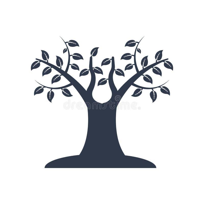 Δέντρο πολύ φύλλων σημάδι και το σύμβολο εικονιδίων διανυσματικό που απομονώνονται με στο wh διανυσματική απεικόνιση