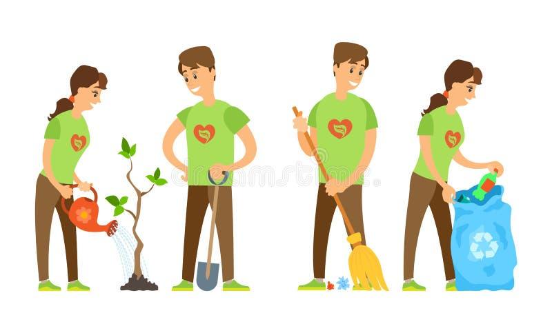 Δέντρο ποτίσματος ανδρών και γυναικών, σκουπίζοντας διάνυσμα απορριμμάτων διανυσματική απεικόνιση