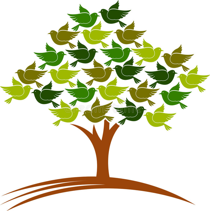 δέντρο πουλιών ελεύθερη απεικόνιση δικαιώματος