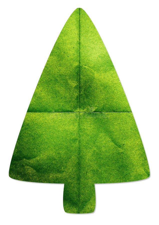Δέντρο που γίνεται πράσινο με την ανακυκλωμένη τέχνη εγγράφου στοκ φωτογραφία