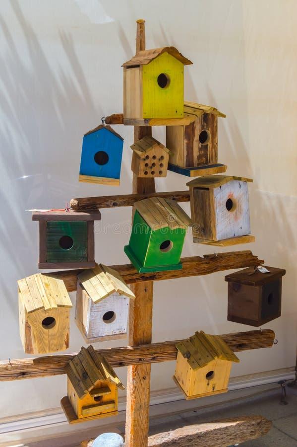 Δέντρο που διακοσμείται ξύλινο με τις φωλιές διάφορων πουλιών στοκ φωτογραφίες