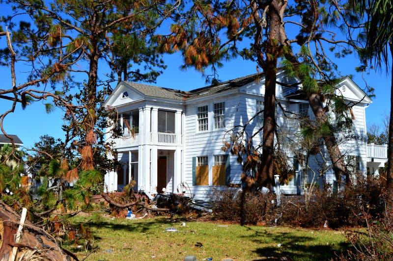 Δέντρο που κλίνει ενάντια στο σπίτι λόγω του τυφώνα Michael στοκ φωτογραφίες με δικαίωμα ελεύθερης χρήσης