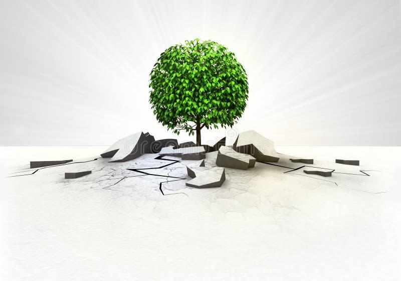 Δέντρο που κολλιέται φυλλώδες στο έδαφος με την έννοια φλογών διανυσματική απεικόνιση