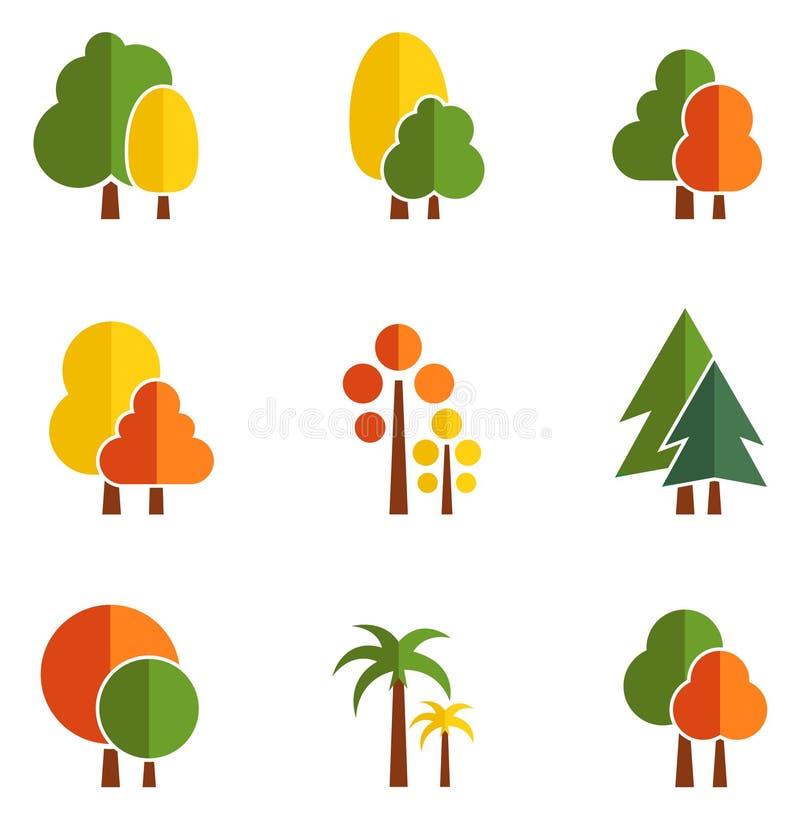 Δέντρο που τίθεται στο επίπεδο ύφος σχεδίου απεικόνιση αποθεμάτων