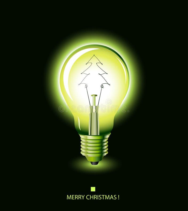 δέντρο πράσινου φωτός Χριστουγέννων βολβών διανυσματική απεικόνιση