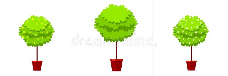 Δέντρο πυξαριού flowerpot στο σύνολο εικονιδίων απεικόνιση αποθεμάτων