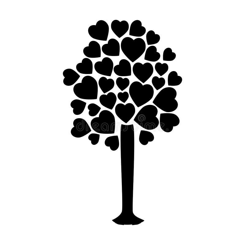Δέντρο σκιαγραφιών με τους φυλλώδεις κλάδους με μορφή μορφής καρδιών διανυσματική απεικόνιση