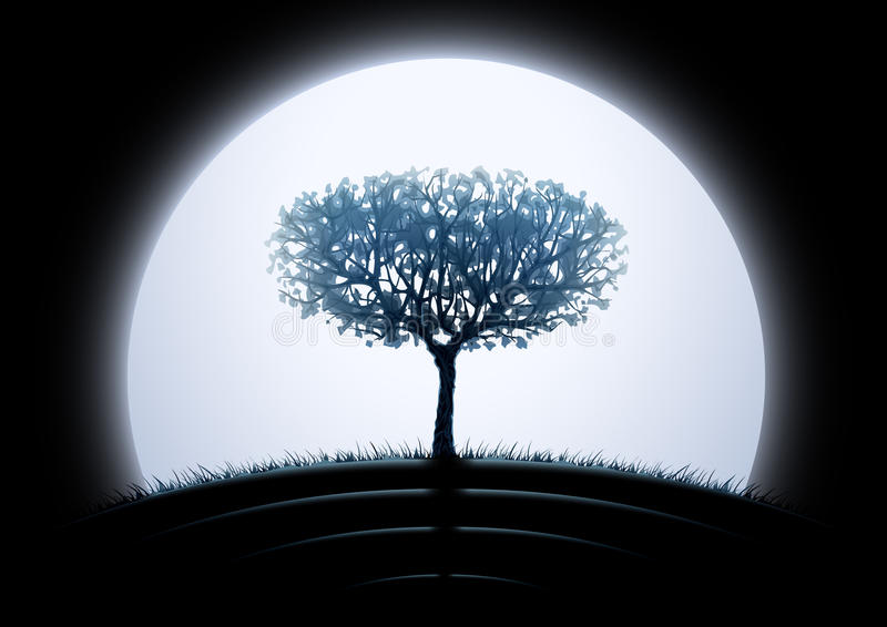 δέντρο σκιαγραφιών φεγγα απεικόνιση αποθεμάτων