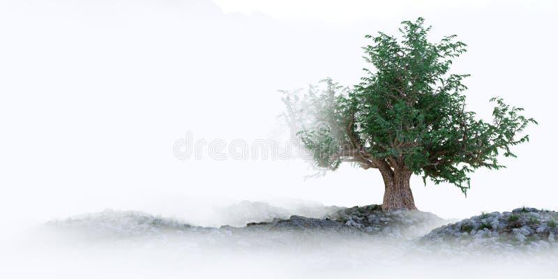δέντρο στη συμβολική σύνθεση έννοιας υποβάθρου τοπίων στοκ φωτογραφίες