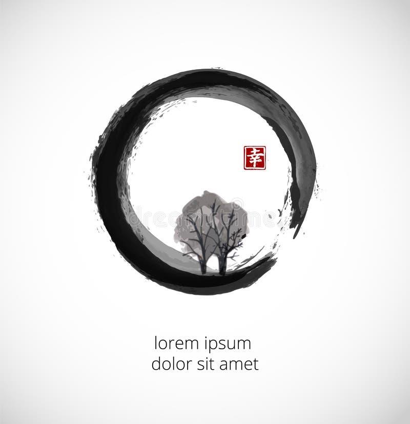 Δέντρο στο μαύρο κύκλο enso zen διανυσματική απεικόνιση