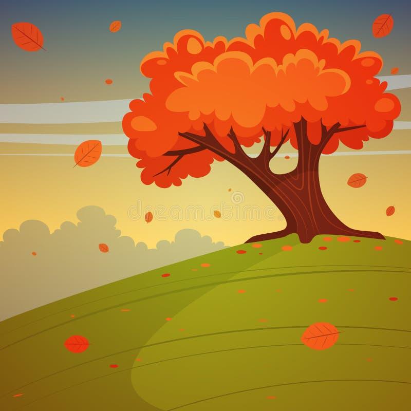 Δέντρο στο λόφο διανυσματική απεικόνιση