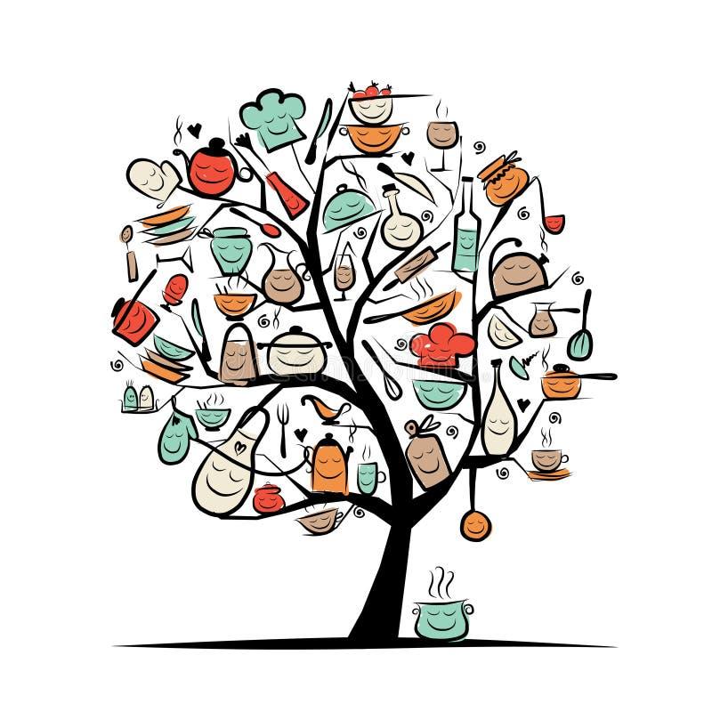 Δέντρο τέχνης με τα εργαλεία κουζινών, σχέδιο σκίτσων για απεικόνιση αποθεμάτων