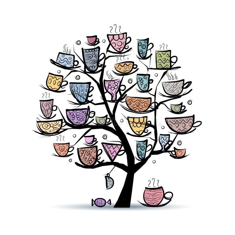 Δέντρο τέχνης με τις κούπες και τα φλυτζάνια Σκίτσο για το σας διανυσματική απεικόνιση