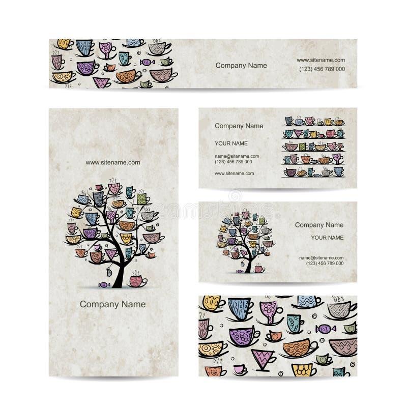 Δέντρο τέχνης με τις κούπες και τα φλυτζάνια Σχέδιο επαγγελματικών καρτών ελεύθερη απεικόνιση δικαιώματος