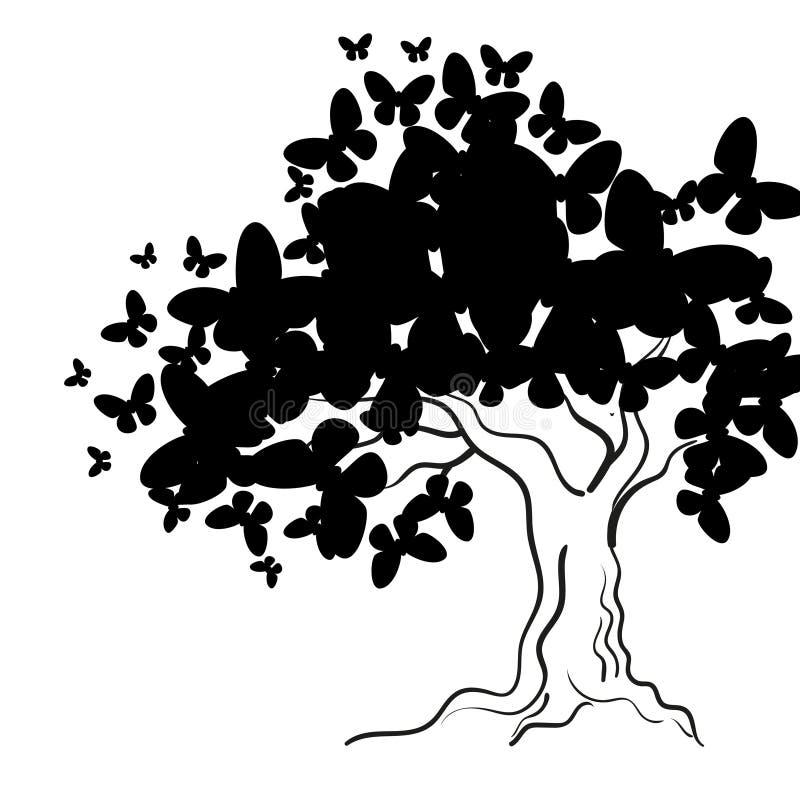 Δέντρο τέχνης με τις πεταλούδες για το σχέδιό σας ελεύθερη απεικόνιση δικαιώματος