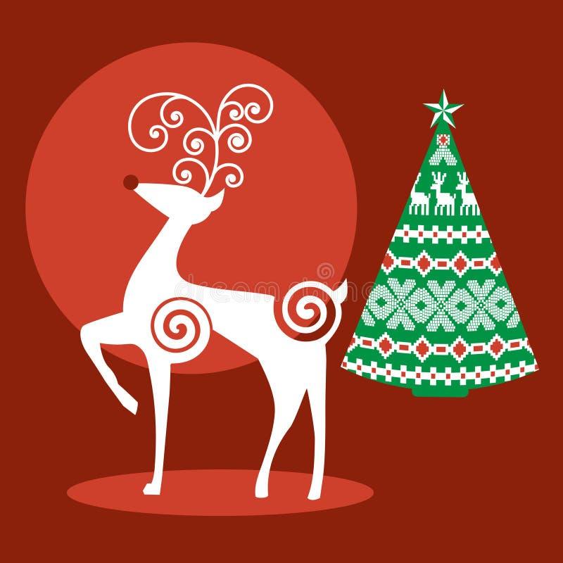 Δέντρο ταράνδων Χριστουγέννων απεικόνιση αποθεμάτων