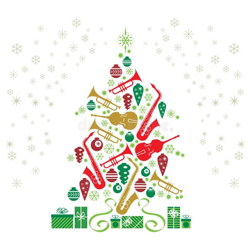 δέντρο τζαζ Χριστουγέννων διανυσματική απεικόνιση