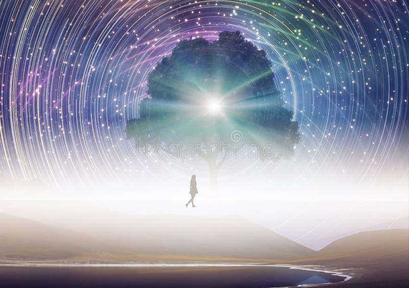 Δέντρο της γνώσης, σκιαγραφία κοριτσιών, κόσμος, περιστρεφόμενος ουρανός αστεριών διανυσματική απεικόνιση