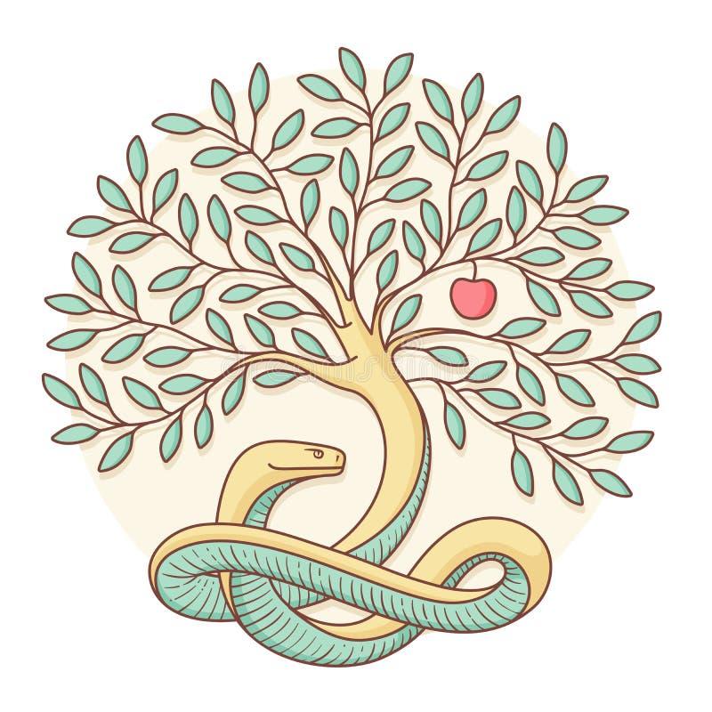 Δέντρο της γνώσης του καλού και του κακού με το φίδι και το μήλο Ζωηρόχρωμο σχέδιο επίσης corel σύρετε το διάνυσμα απεικόνισης ελεύθερη απεικόνιση δικαιώματος