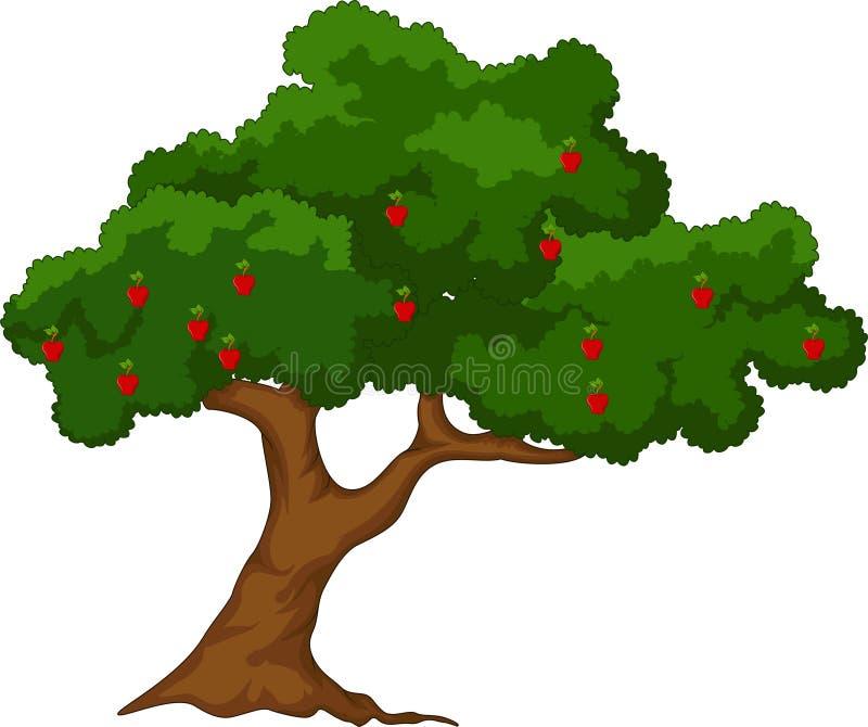 Δέντρο της Apple με το κόκκινο άσπρο υπόβαθρο μήλων απεικόνιση αποθεμάτων