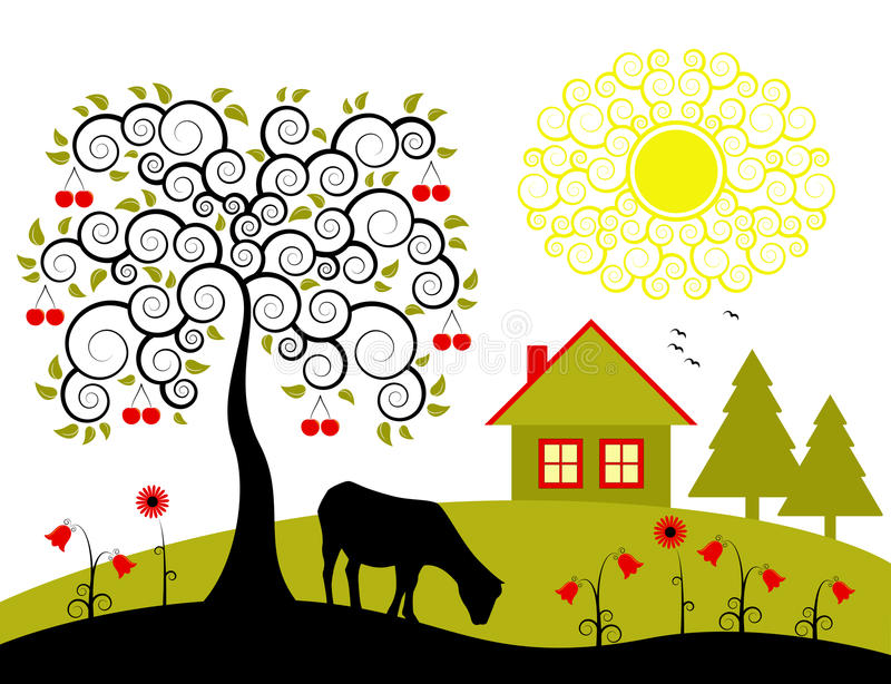 δέντρο τοπίων κερασιών διανυσματική απεικόνιση