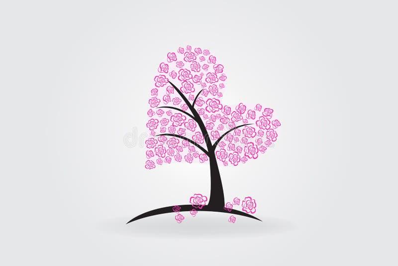 Δέντρο του διανύσματος λογότυπων καρδιών αγάπης τριαντάφυλλων απεικόνιση αποθεμάτων