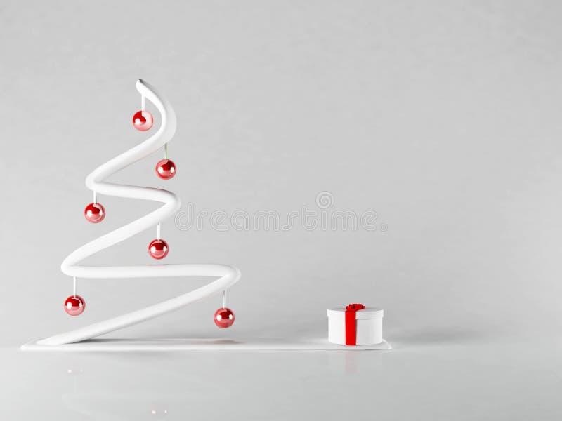 Δέντρο του νέου έτους με το δώρο, ελεύθερη απεικόνιση δικαιώματος
