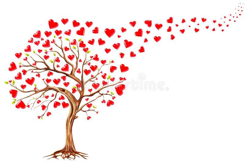 Δέντρο των καρδιών, υπόβαθρο ημέρας βαλεντίνων ελεύθερη απεικόνιση δικαιώματος