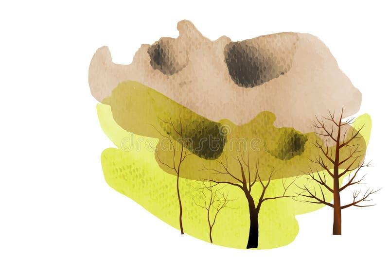 Δέντρο, υπόβαθρο watercolor δέντρων, αφηρημένη, διανυσματική απεικόνιση ελεύθερη απεικόνιση δικαιώματος