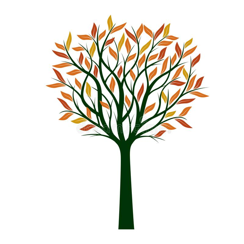 Δέντρο φθινοπώρου με τα πορτοκαλιά φύλλα επίσης corel σύρετε το διάνυσμα απεικόνισης απεικόνιση αποθεμάτων