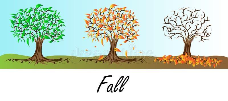 Δέντρο φθινοπώρου - πτώση φύλλων ελεύθερη απεικόνιση δικαιώματος