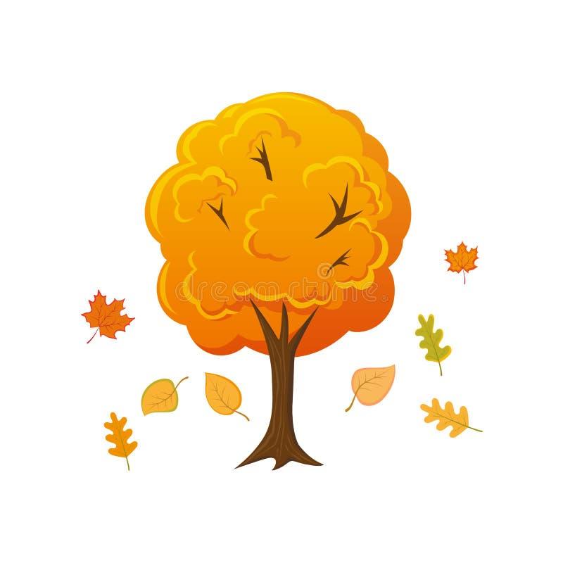 Δέντρο φθινοπώρου ύφους κινούμενων σχεδίων με τα φύλλα που πέφτουν κάτω ελεύθερη απεικόνιση δικαιώματος