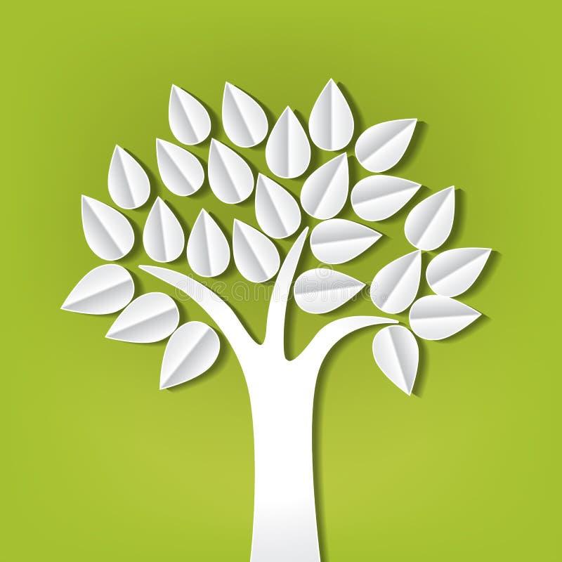 Δέντρο φιαγμένο από έγγραφο που αποκόπτει διανυσματική απεικόνιση