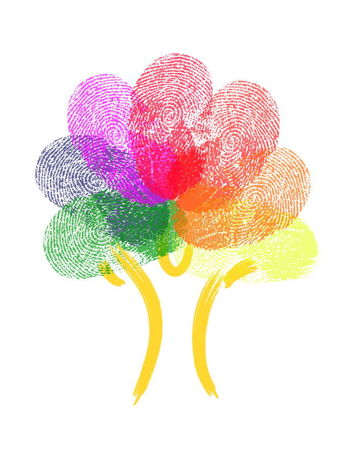 Δέντρο φιαγμένο από δακτυλικά αποτυπώματα ελεύθερη απεικόνιση δικαιώματος