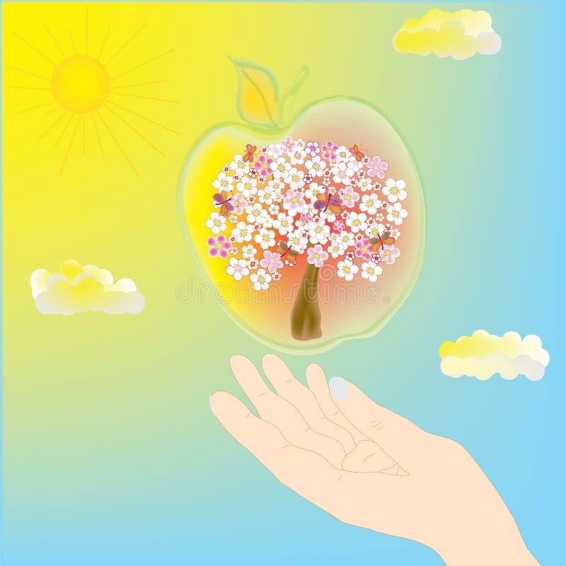 δέντρο χεριών μήλων διανυσματική απεικόνιση