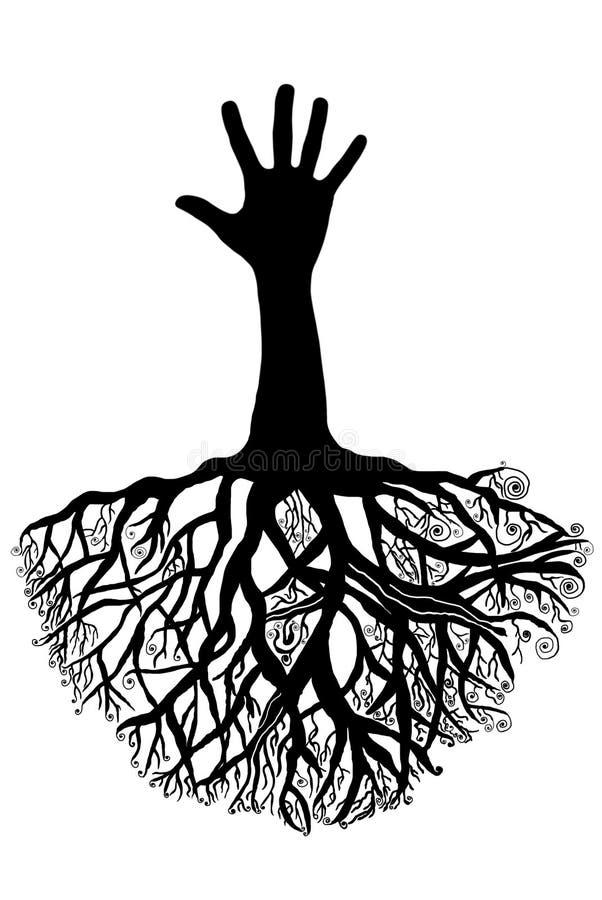Δέντρο χεριών με τις ρίζες απεικόνιση αποθεμάτων