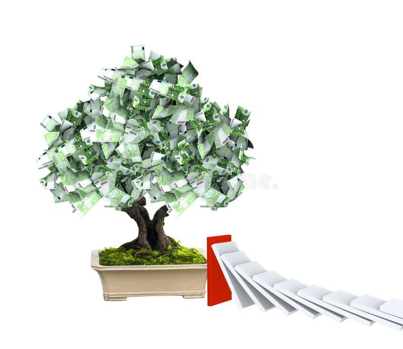 Δέντρο χρημάτων με τα ευρο- τραπεζογραμμάτια και την επίδραση ντόμινο απεικόνιση αποθεμάτων